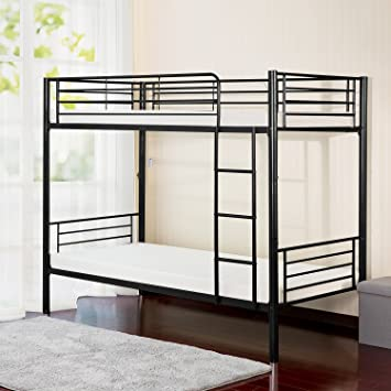 Amazon Com Merax Twin Over Twin Metal Bunk Bed In Black Home Kitchen