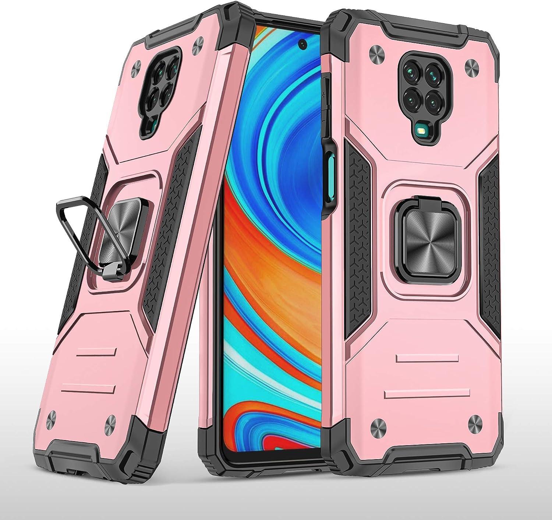 SORAKA Funda para Xiaomi Redmi Note 9S con Anillo Metal,Carcasa a Prueba de Golpes,Borde de Silicona Suave,Cubierta Trasera rígida de PC con Placa de Metal para Soporte magnético para teléfono móvil
