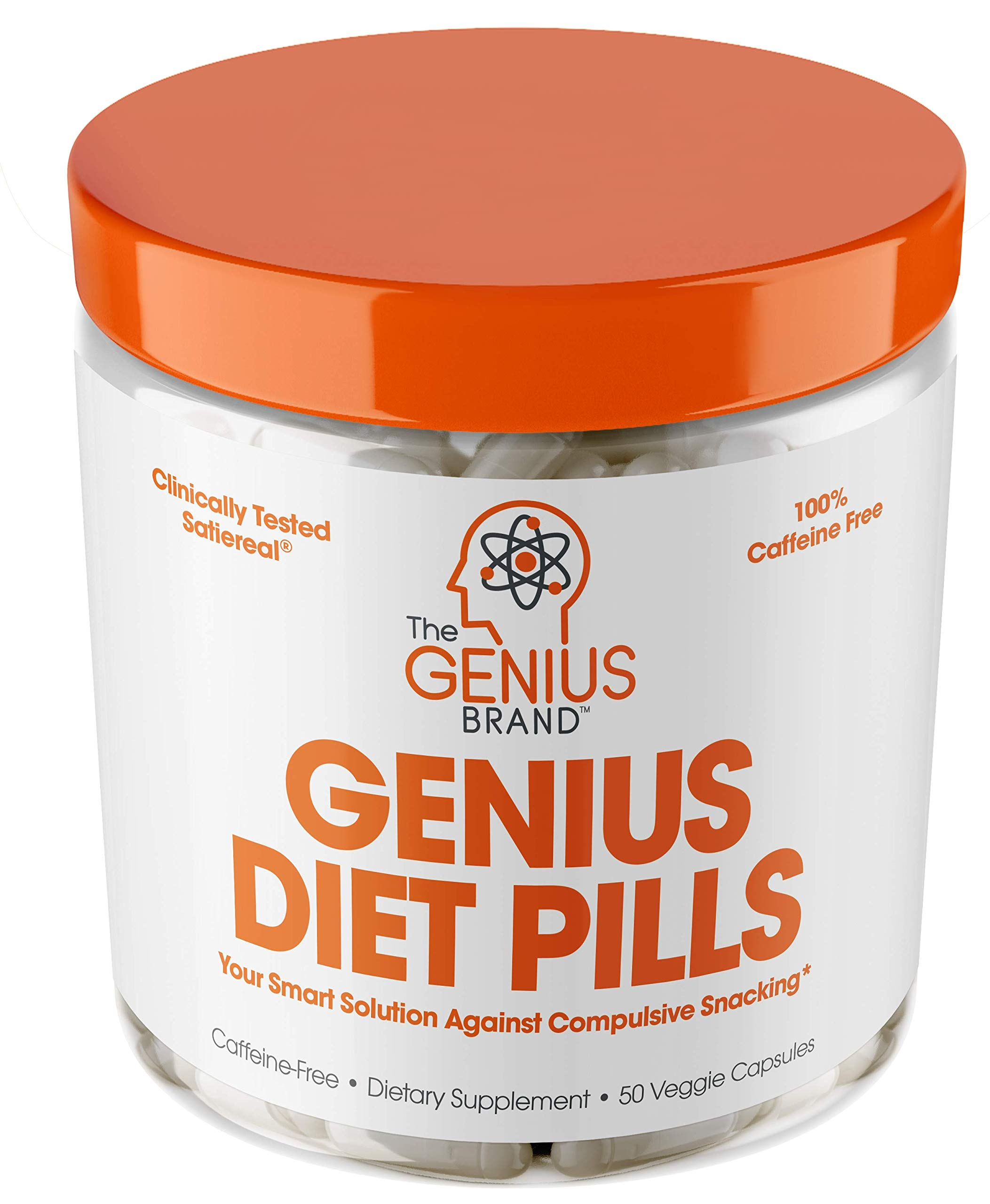 Genius Diet Pills - The Smart Appetite Suppressant That Works Fast for Safe Weight Loss, Natural 5-HTP & Saffron Supplement Proven for Women & Men - Cortisol Manger + Thyroid Support, 50 Veggie Caps by The Genius Brand