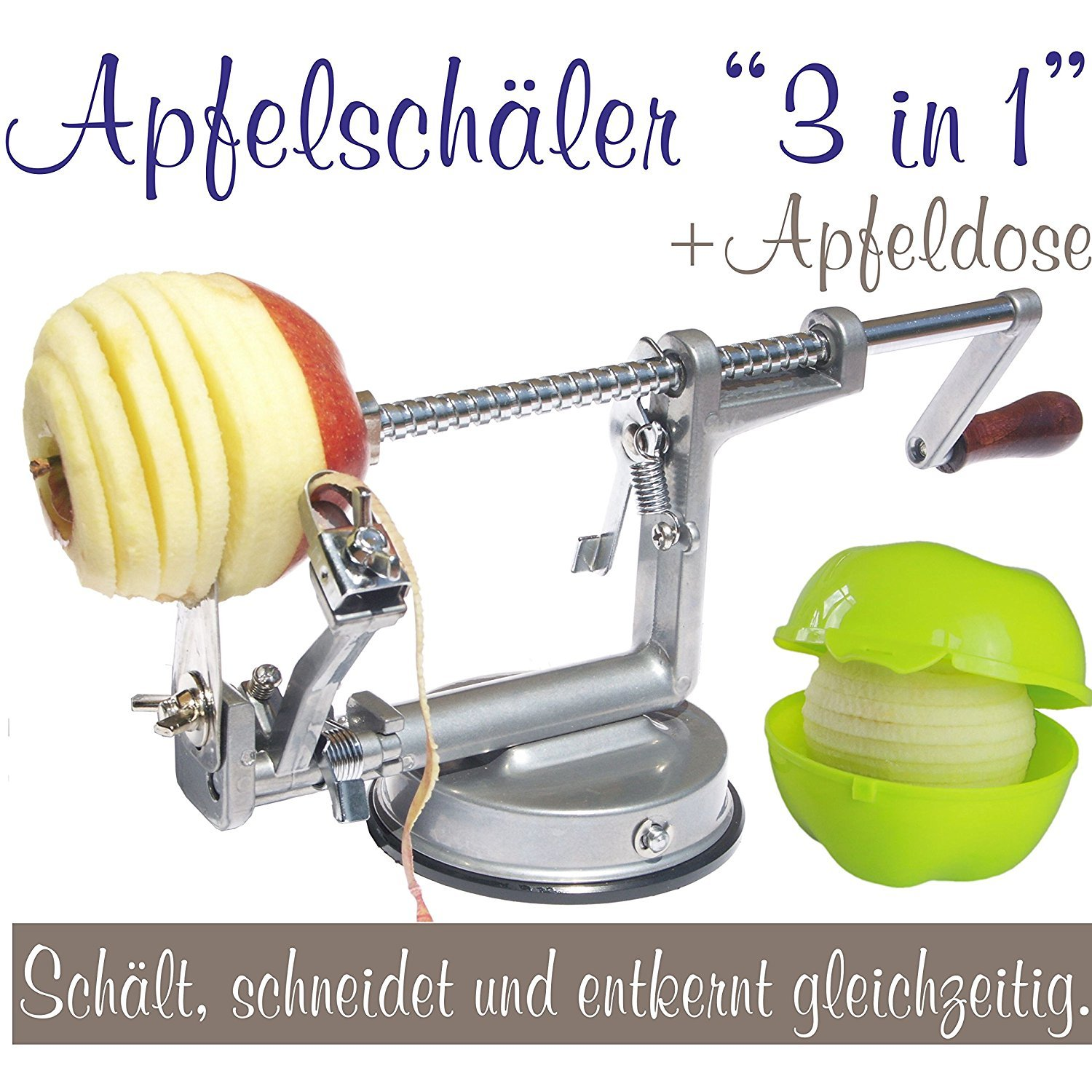 3-in-1 Apple Peeler, Slicer and Corer, Apple Machine with apple container light green