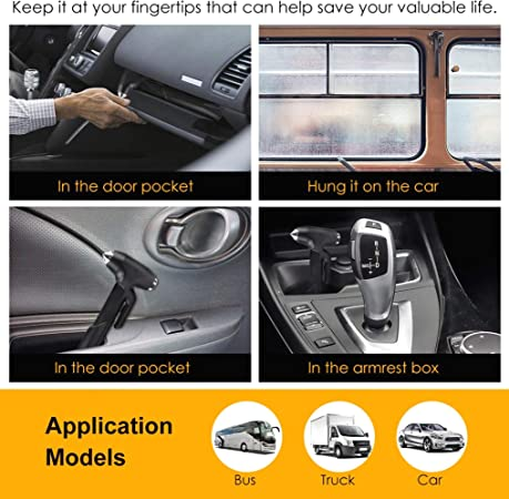 Agger Durable 1PC Auto Nothammer Auto Escape-Werkzeuge Multi-Purpose-Auto-Sicherheits-Hammer Schwarz-Fenster-Glas Breaker