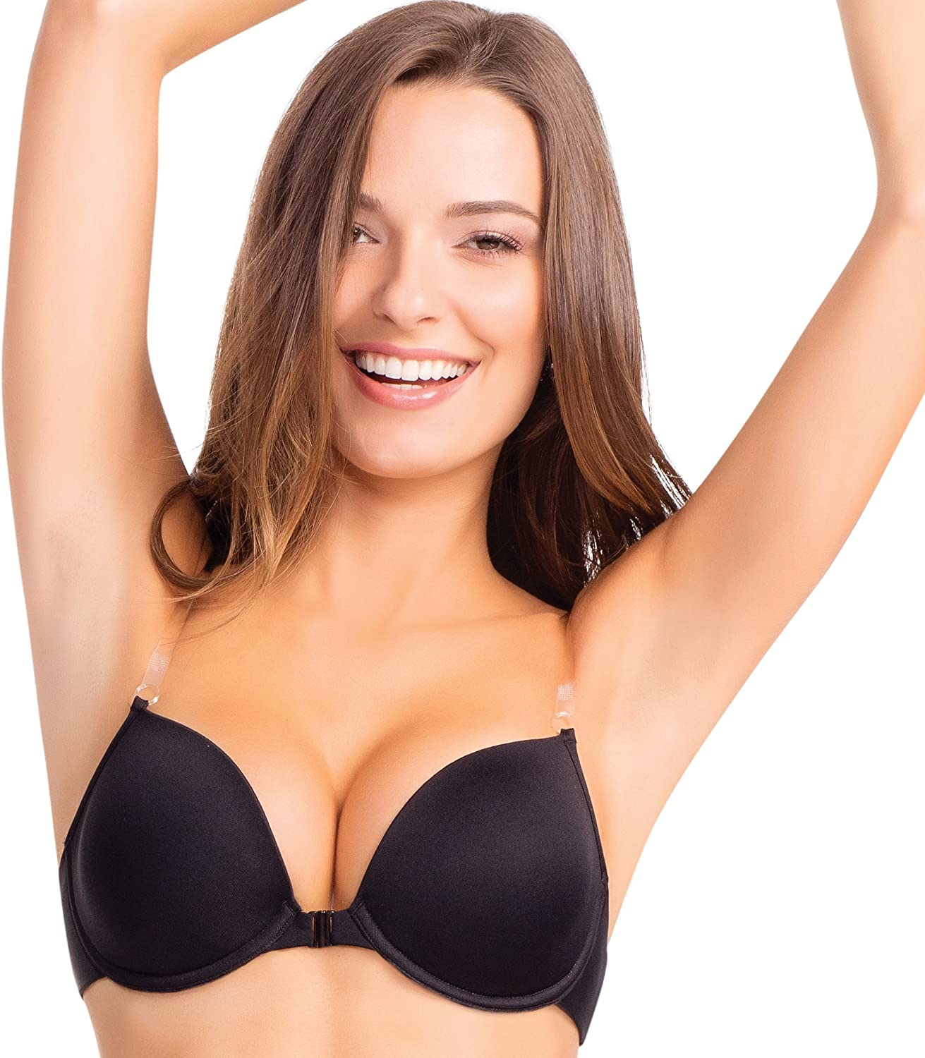 Ilusion 7406 Womens Lighly Padded Clear Solutions Front Closure Bra