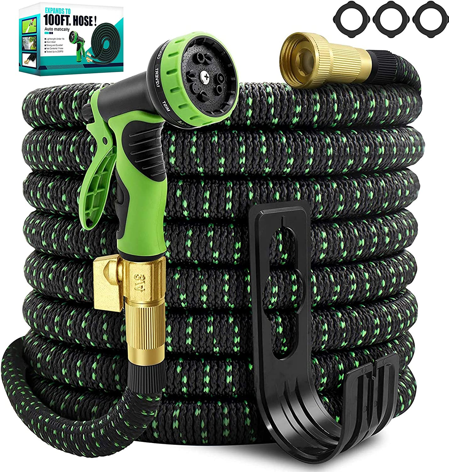 TIKUTKU 100ft Garden Hose,3X Expandable Hose with 10 Washing Mode,Durable and Flexible Lightweight Water Hose with 3/4'' Brass Shut Off Valve , Leakproof & No-Kink,for Daily Watering/Washing