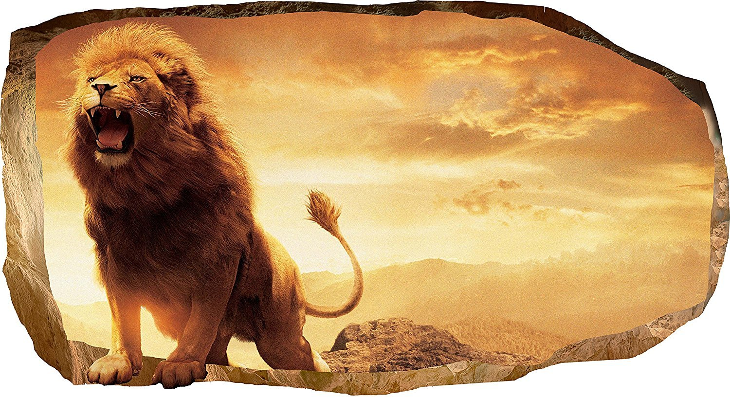 Startonight 3D Mural Wall Art Photo Decor Lion in Bedroom Amazing Dual View Surprise Large 32.28 inch By 59.06 inch Wall Mural Wallpaper for Living or Bedroom Animals Collection Wall Art
