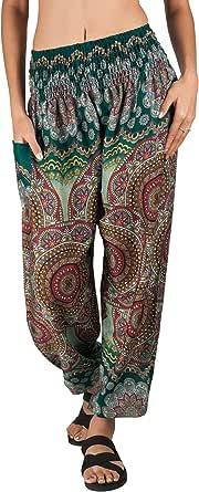 Festival Pants : Bohemian Harem Loose Yoga Travel Lounge Festival Beach Pants, Smocked Waist Harem Hippie Boho, Casual Pants