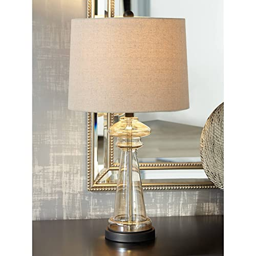 Dalia Modern Table Lamp Clear Champagne Gold Glass Taupe Drum Shade Living Room Family Bedroom Bedside Nightstand Office – 360 Lighting