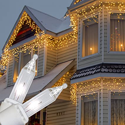 Amazon kringle traditions 9 ft 150 clear icicle lights with kringle traditions 9 ft 150 clear icicle lights with long drops white wire indoor aloadofball Gallery