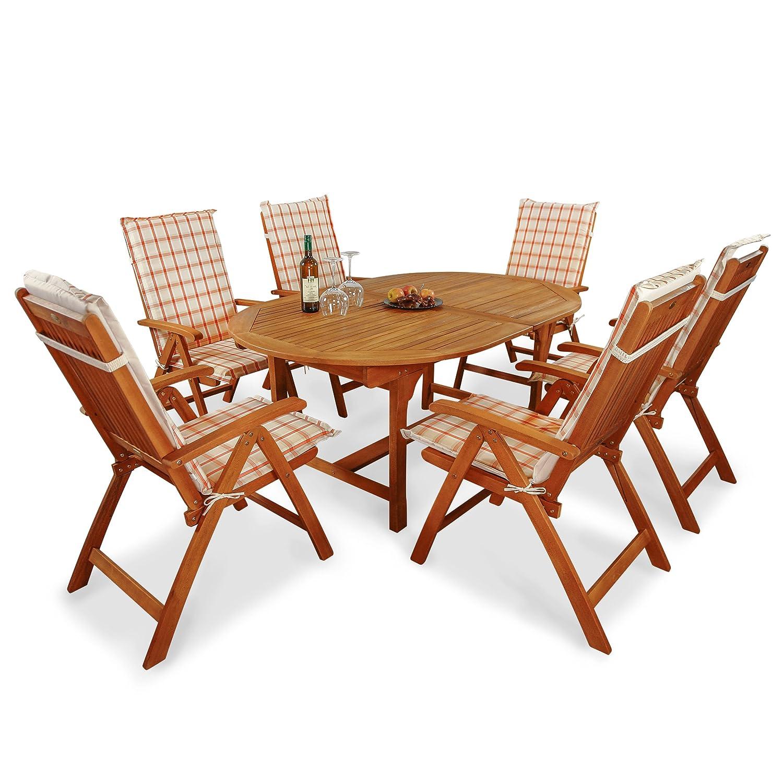 indoba® IND-70048-BASE7 + IND-70410-AUHL - Serie Bali - Gartenmöbel Set 13-teilig aus Holz FSC zertifiziert - 6 klappbare Gartenstühle + ausziehbarer Gartentisch + 6 Comfort Auflagen Karo Orange