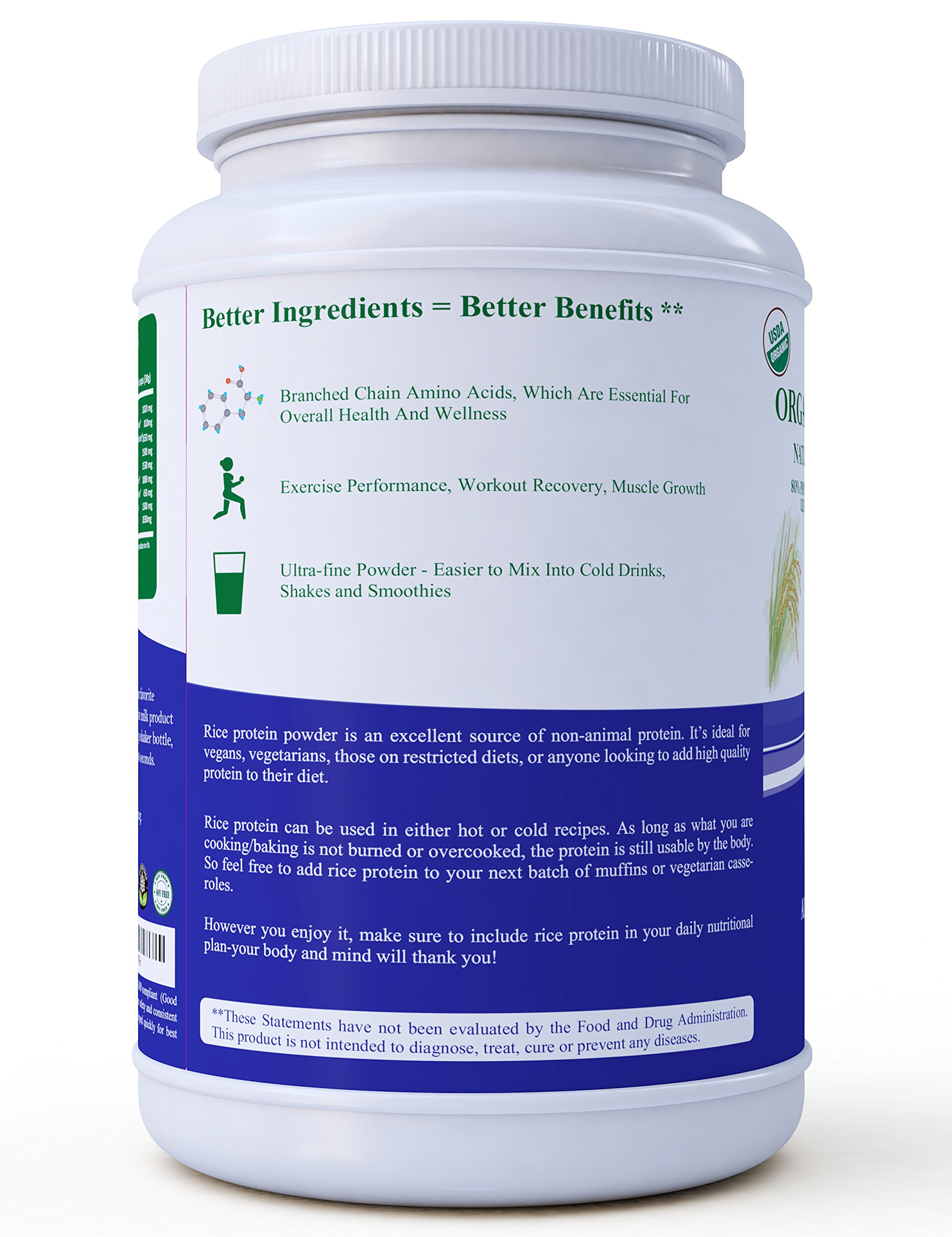 3 lb. Organic Brown Rice Protein Powder. USDA Certified. 80% Protein. No GMO, Soy or Gluten. Vegan. Full Spectrum Amino Acids (BCAA). Ultra-fine Powder Mixes Best in Drinks. by Zen Principle (Image #3)