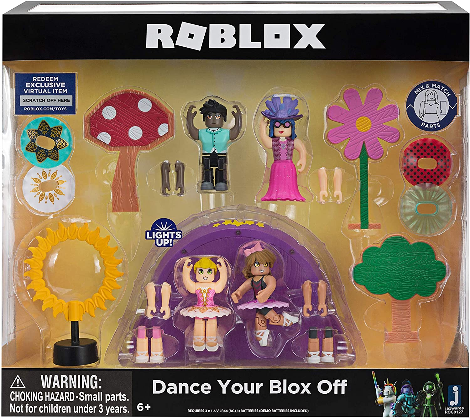 Roblox Dance Outfits Amazon Com Roblox Celebrity Collection Dance Your Blox Off Playset Includes Exclusive Virtual Item Amazon Exclusive Toys Games