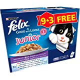 Purina Felix Junior As Good As It Looks Mixed Wet Cat Food Pouch 100g (12 Pouches)