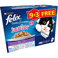 Purina Felix Junior As Good As It Looks Mixed Wet Cat Food Pouch 100 g (12 Pouches)
