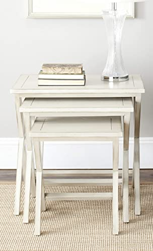 Safavieh American Homes Collection Maryann Antiqued White Stacking -Tray Tables