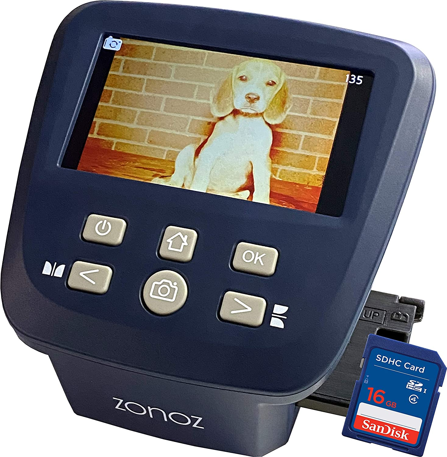 110 126 Includes Large Bright 5-Inch LCD Easy-Load Film Inserts Adapters Converts 35mm 16GB SD Card Super 8 /& 8mm Film Negatives /& Slides to JPEG zonoz FS-Five Digital Film /& Slide Scanner