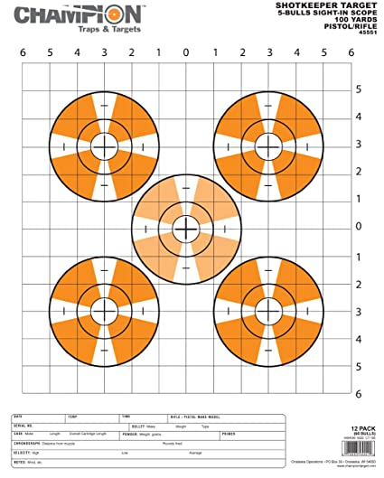 Champion Traps /& Targets Redfield Style Precision Sight-In Target Pack of 100