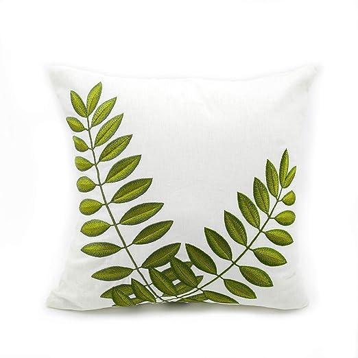 KAINKAIN Decorativa Funda de almohada verde bordado de hojas ...