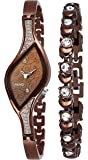 PAPIO Diamond Studded Analogue Brown Dial Women's Watch with Brown Color Bracelet P-WC 5005