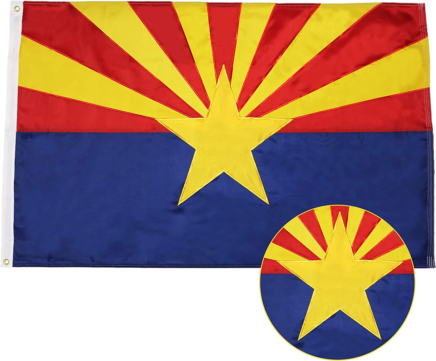 G128 - Arizona State Flag   3x5 feet   Double Sided Embroidered 210D - Indoor/Outdoor, Brass Grommets, Heavy Duty Polyester, 2-ply