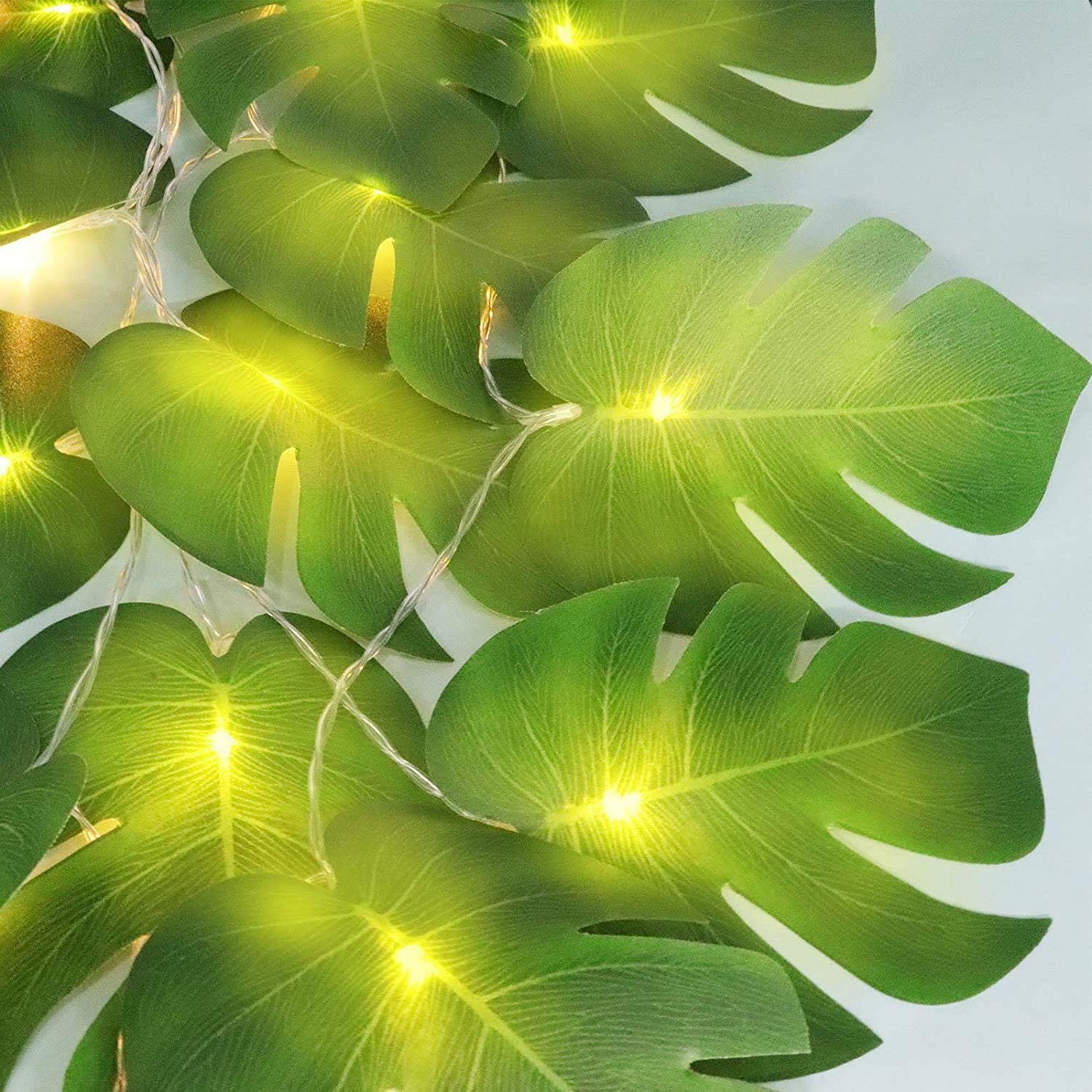 20 LED Monstera Leaf String Lights, Tropical Artificial Rattan Palm Leaves Wall Hanging Vine Leaf, Summer Decoration for Outdoor Indoor Hawaiian Luau Party Jungle Beach Theme Table Home Decorations