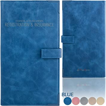 Deluxe Car Insurance and Registration Card Holder Blue Premium Quality Automobile Essential Documents Wallet