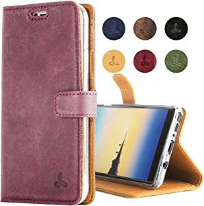 Snakehive Vintage Wallet for Samsung Galaxy Note 8 || Genuine Leather Wallet Phone Case || Real Leather with Viewing Stand & 3 Card Holder || Flip Folio Cover with Card Slot (Plum)