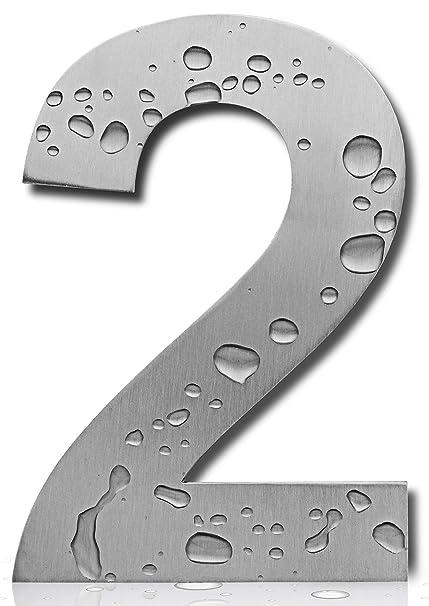 Royal H&H - Placa de acero inoxidable pulido de níquel cepillado con números de casa grandes y modernos de 15,24 cm para casa, hotel, oficina, acero ...