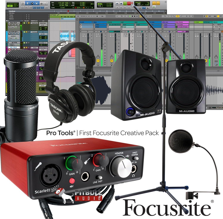 Focusrite Scarlett solo 2 nd Gen USB 2 x 2 Home Bundle de grabación W/AV30 monitores AT2020: Amazon.es: Electrónica