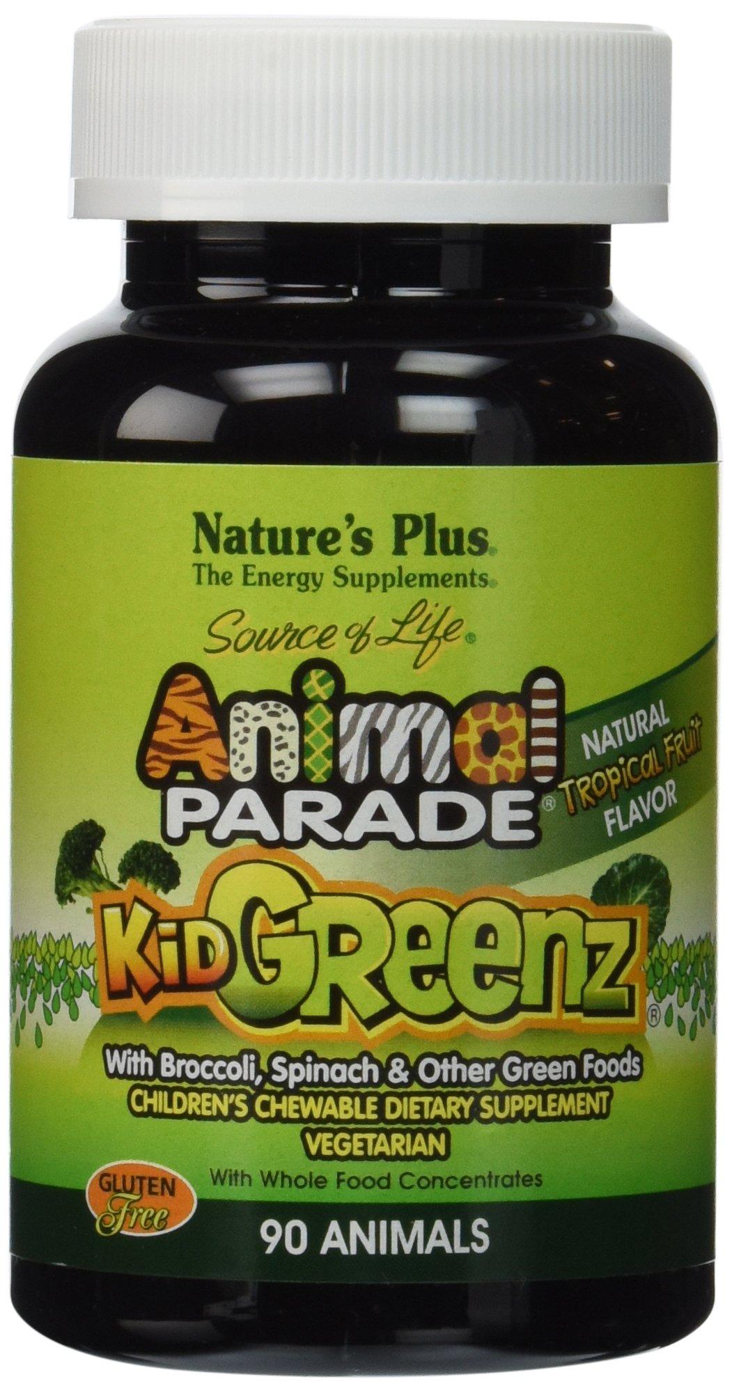 Nature's Plus - Animal Parade KidGreenz Children's Chewable - Tropical Fruit Flavor, 90 count