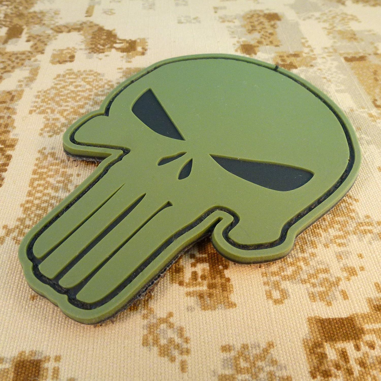 Olive Drab OD Punisher Skull PVC 3D Rubber DEVGRU Army Fastener Patch