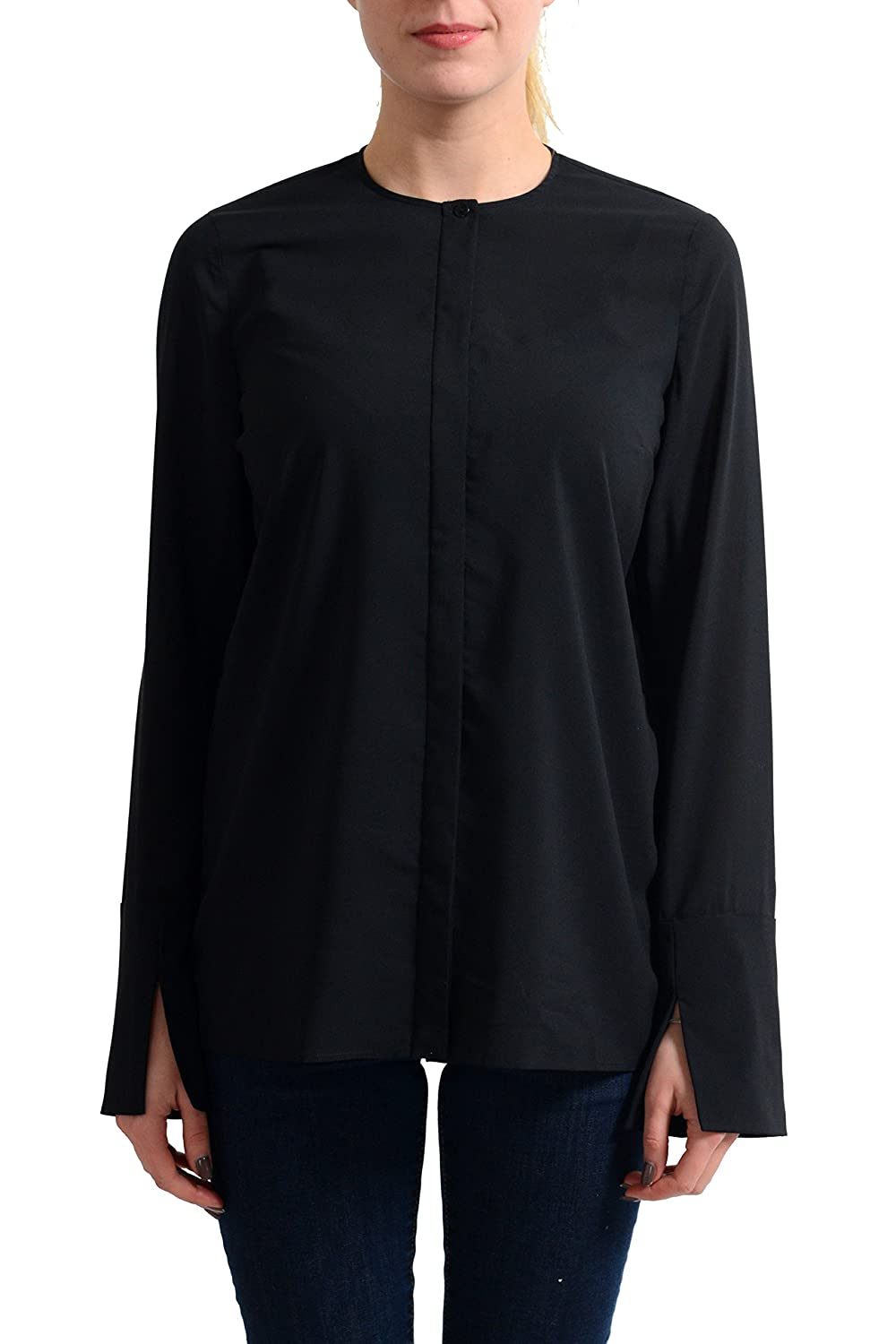 Just Cavalli Women's Black Long Sleeve Blouse Top US S IT 40