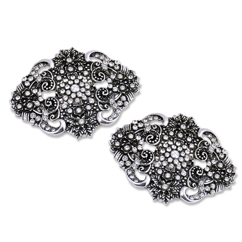 ElegantPark BM Vintage Flowers Rhinestones Wedding Party Decoration Shoe Clips Antique Silver 2 Pcs