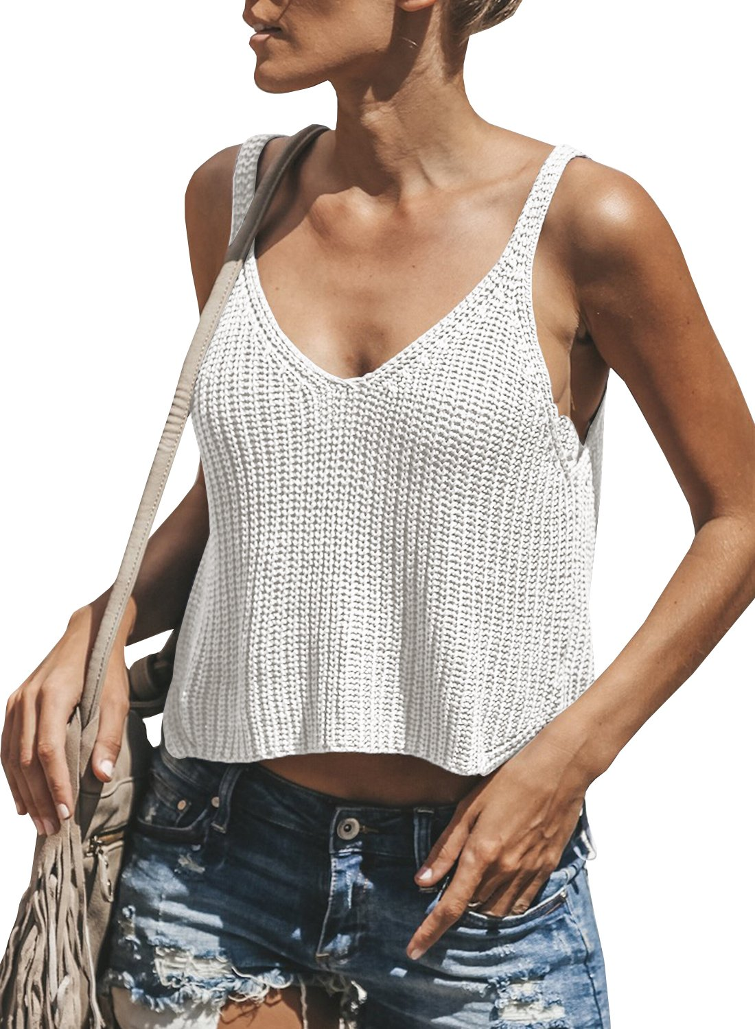 Ivay Women's Sleeveless Sweater Crop Top Solid Spaghetti Strap Knitted Tank