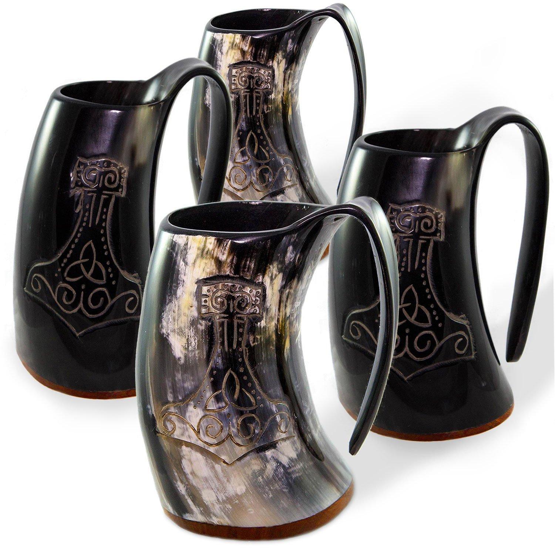 Norse Tradesman Genuine Viking Drinking Horn Tankards | Set of 4 Mugs | Thor's Hammer Engravings - ''The Mjolnir''
