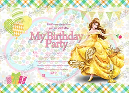 10 x disney belle birthday party invitations with 10 free envelopes 10 x disney belle birthday party invitations with 10 free envelopes filmwisefo