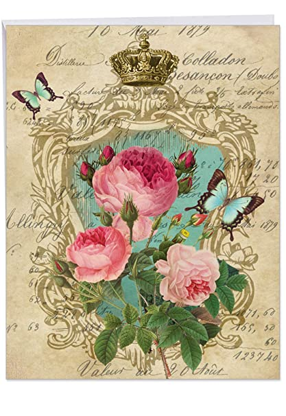 Romance And Roses Birthday Large Greeting Card With Envelope 85 X 11 Inch