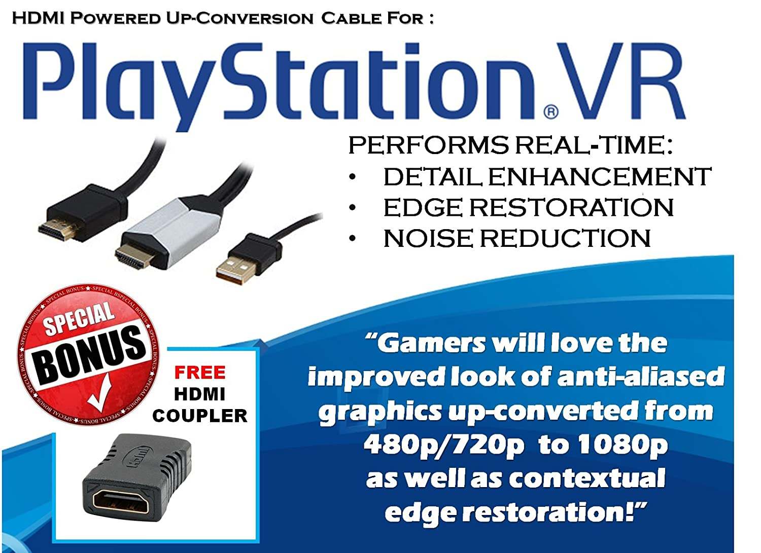 """Sony PlayStation VR Virtual Reality PS4 PSVR Original HMDI Cable /""""Cable 1/"""" only"""