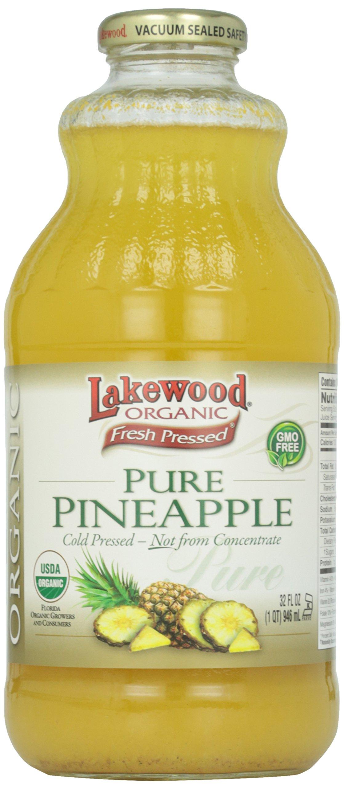 Lakewood Pure Pineapple Juice, Organic, 1 Quart