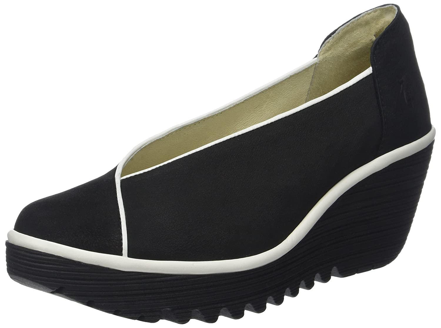 FLY London Pumps, Damen Yuca839fly Pumps, London Blau Schwarz (schwarz/OffWeiß) 1a4829