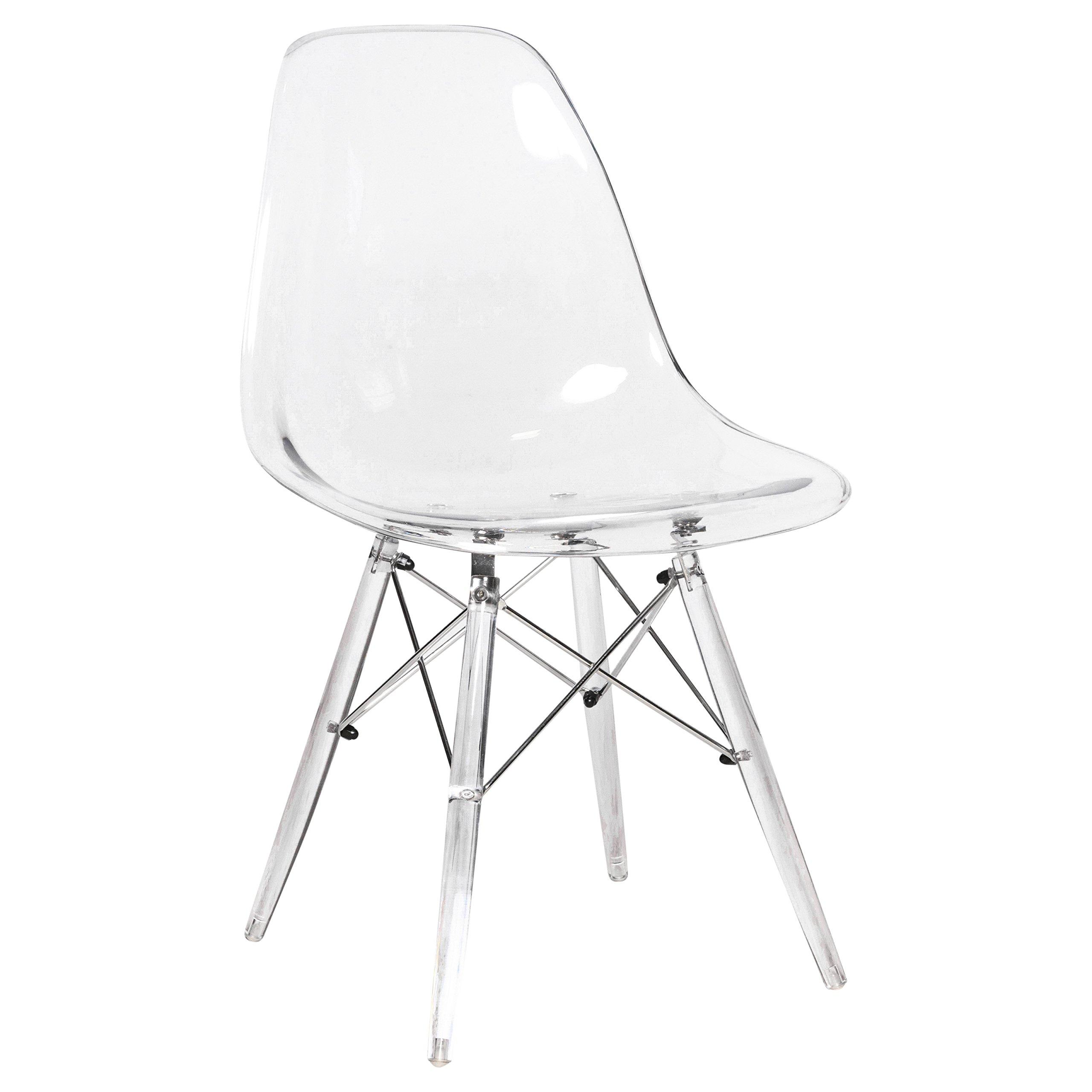 LeisureMod Calbert Molded Plastic Dining Chair with Acrylic Eiffel Base (Clear)