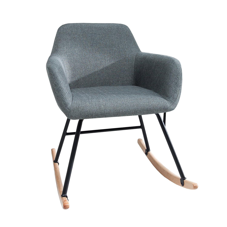 Moderner Schaukelstuhl BALTIC dunkelgrau Schaukelsessel Scandinavian Design Sessel Stuhl Wohnzimmersessel