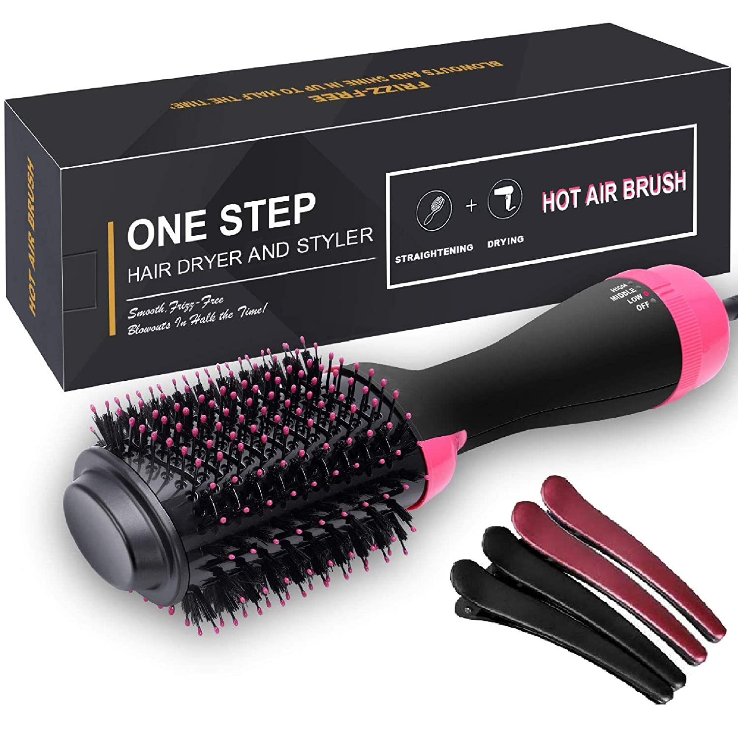 Hair Dryer Brush, One Step Hair Dryer & Volumizer, 3-in-1 negative ion Straightening Brush Salon and Curly Hair Comb Reduce Frizz and Static (Blush)