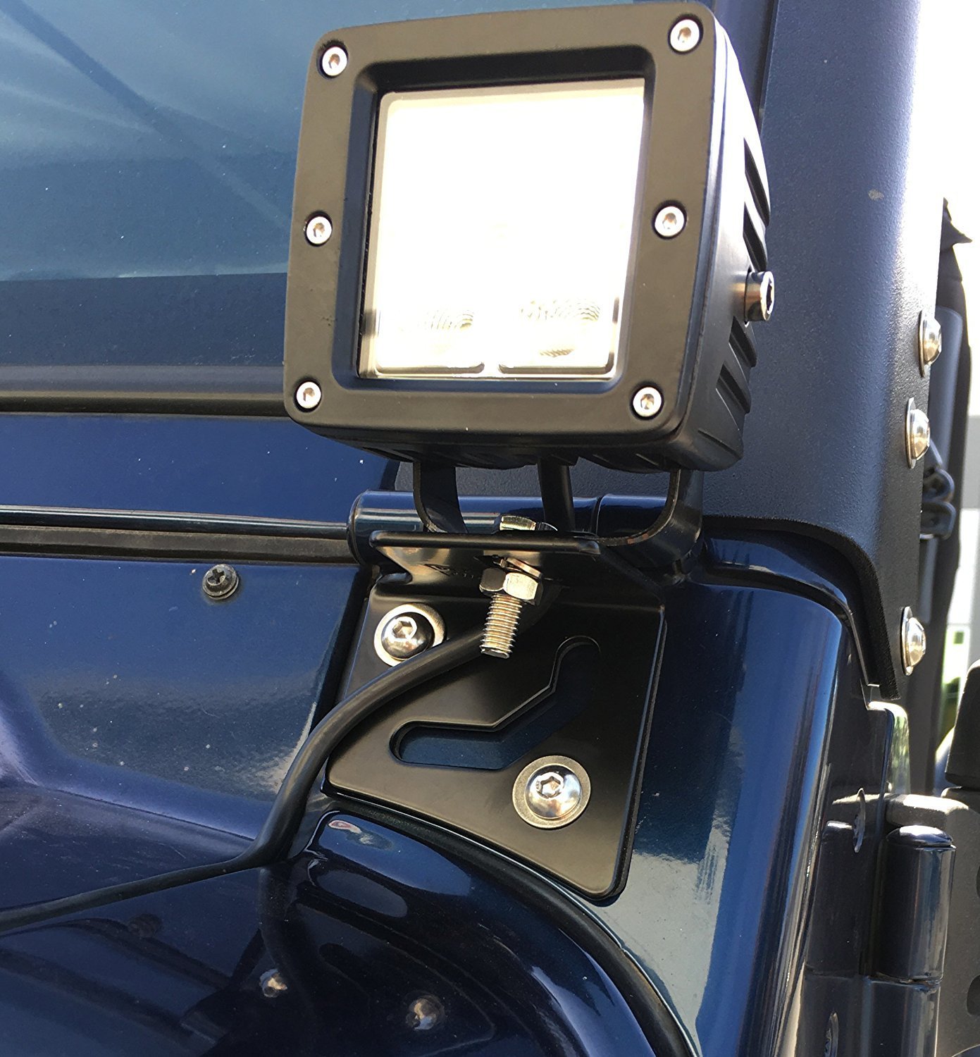 Compatible with the New 2018-2019 Jeep Wrangler JL /& 2020 Gladiator JT GS Power A-Pillar Windshield Hinge Mount Brackets for Mounting Auxiliary Off Road LED HID Halogen Fog Work Lights