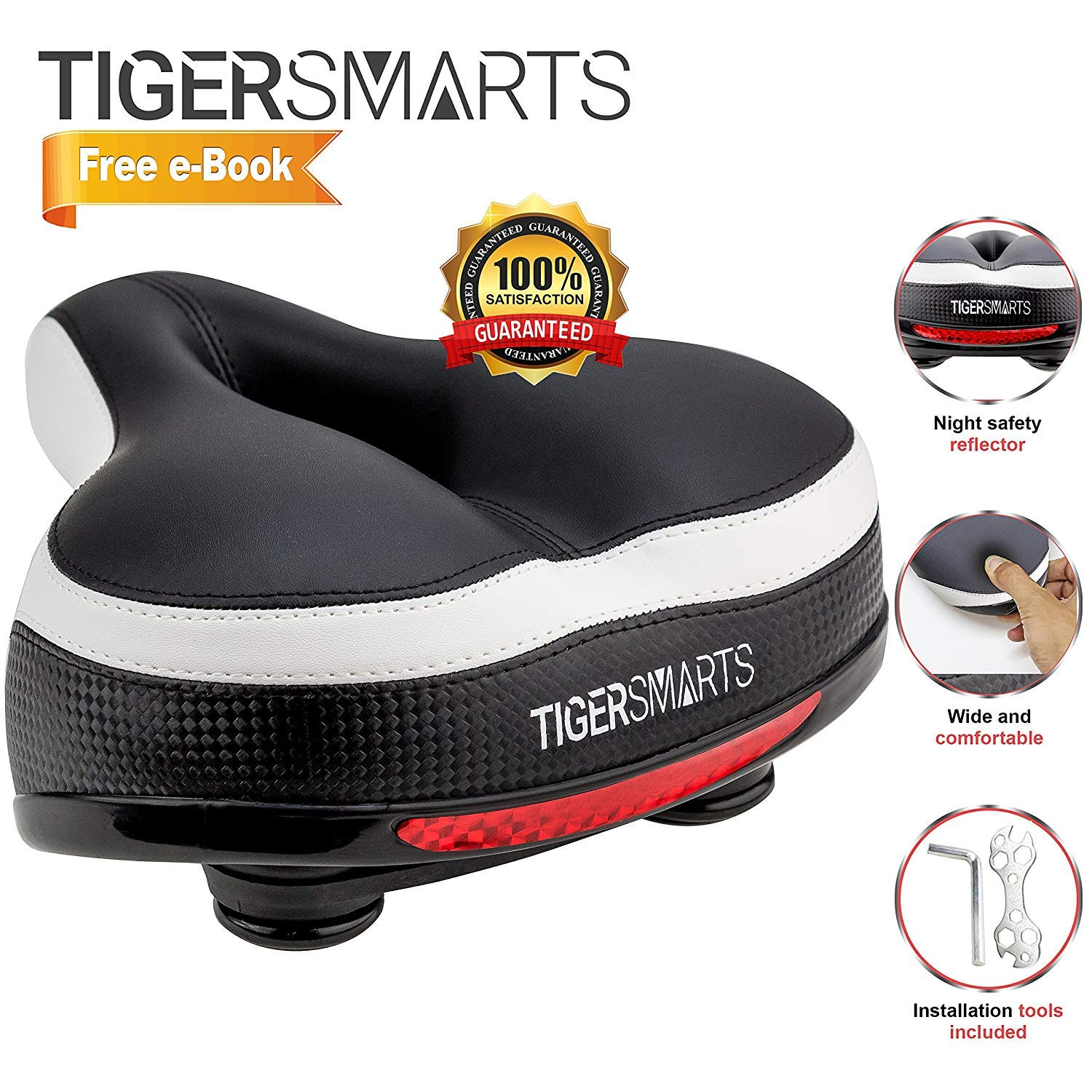 Bike Seat by TigerSmarts Replacement Padded Comfortable Bicycle Seat with Shock Absorbing Springs- Best Bike Saddle Cushion for Electric Bicycles,Mountain and Cruiser Bikes-Improves Riding Comfort by TigerSmarts (Image #3)