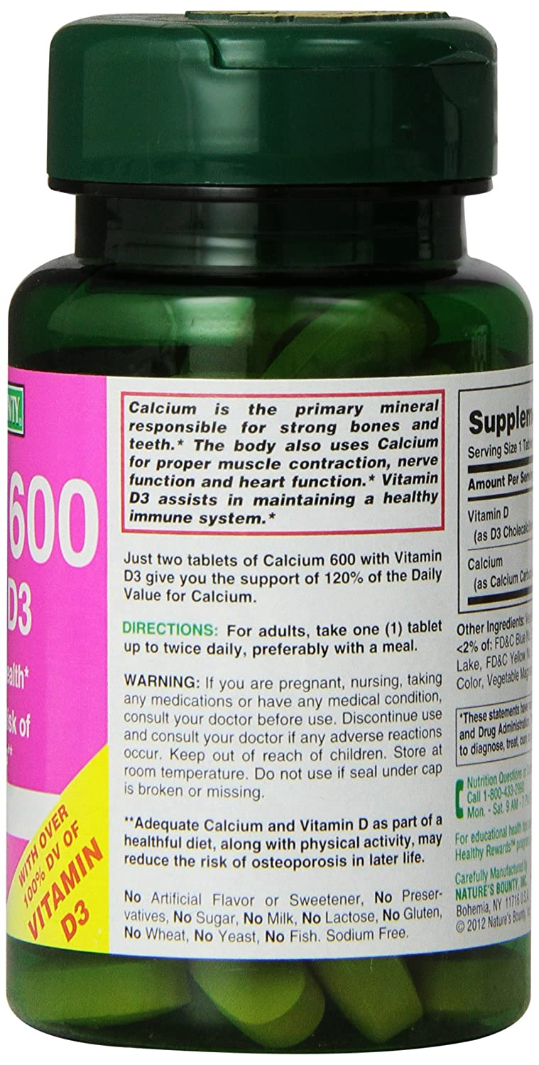 Nature's Bounty, Calcium 600 +D Tablets, 60 ct