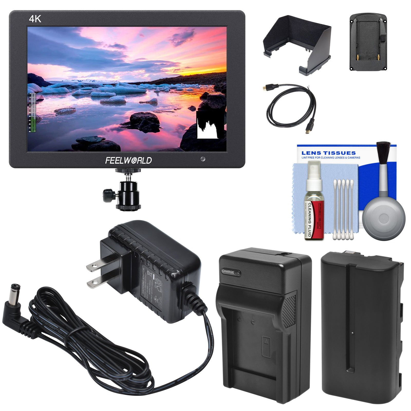 Feelworld T7 7-inch 4K 1920x1200 IPS On-Camera Field Monitor with Battery & Charger + AC Adapter + Sun Shade + HDMI Cable + Hot Shoe Mount + Kit