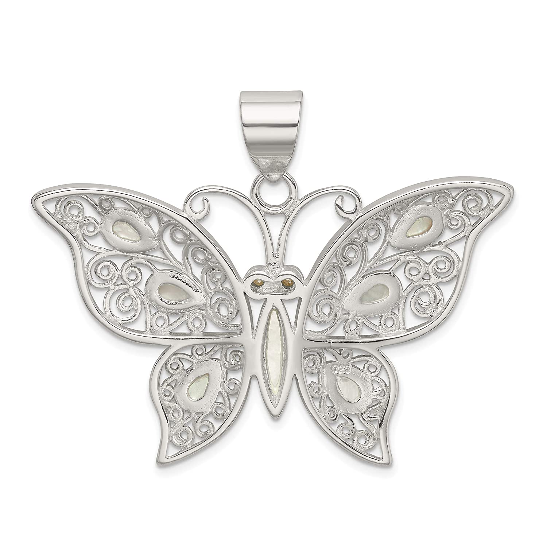 Mother of Pearl Fancy Butterfly Pendant in 925 Sterling Silver 41x50mm