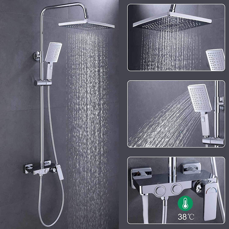 OUPAN Upgrade 10 Zoll 38° C Duschsystem Thermostat Duschamartur Regendusche Rainshower 5 jä hrige Garantie, Messing verchromt Duschset inkl. Ü berkopfbrause + Handbrause + Duscharmatur Funktion