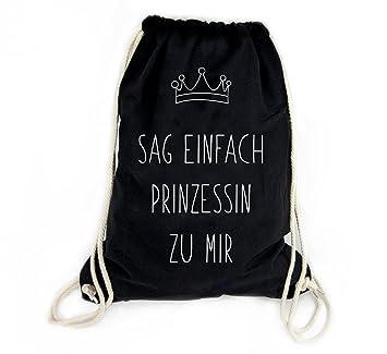 8d841d8c99da4 Sophies Kartenwelt Turnbeutel mit Spruch Prinzessin - 100% Baumwolle Beutel  Rucksack in schwarz