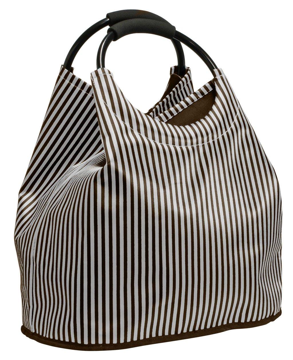 Shoppingtasche, Freizeittasche, Strandtasche, erweiterbar, Farbe silber im Satinlook, Trendyshop365 34055