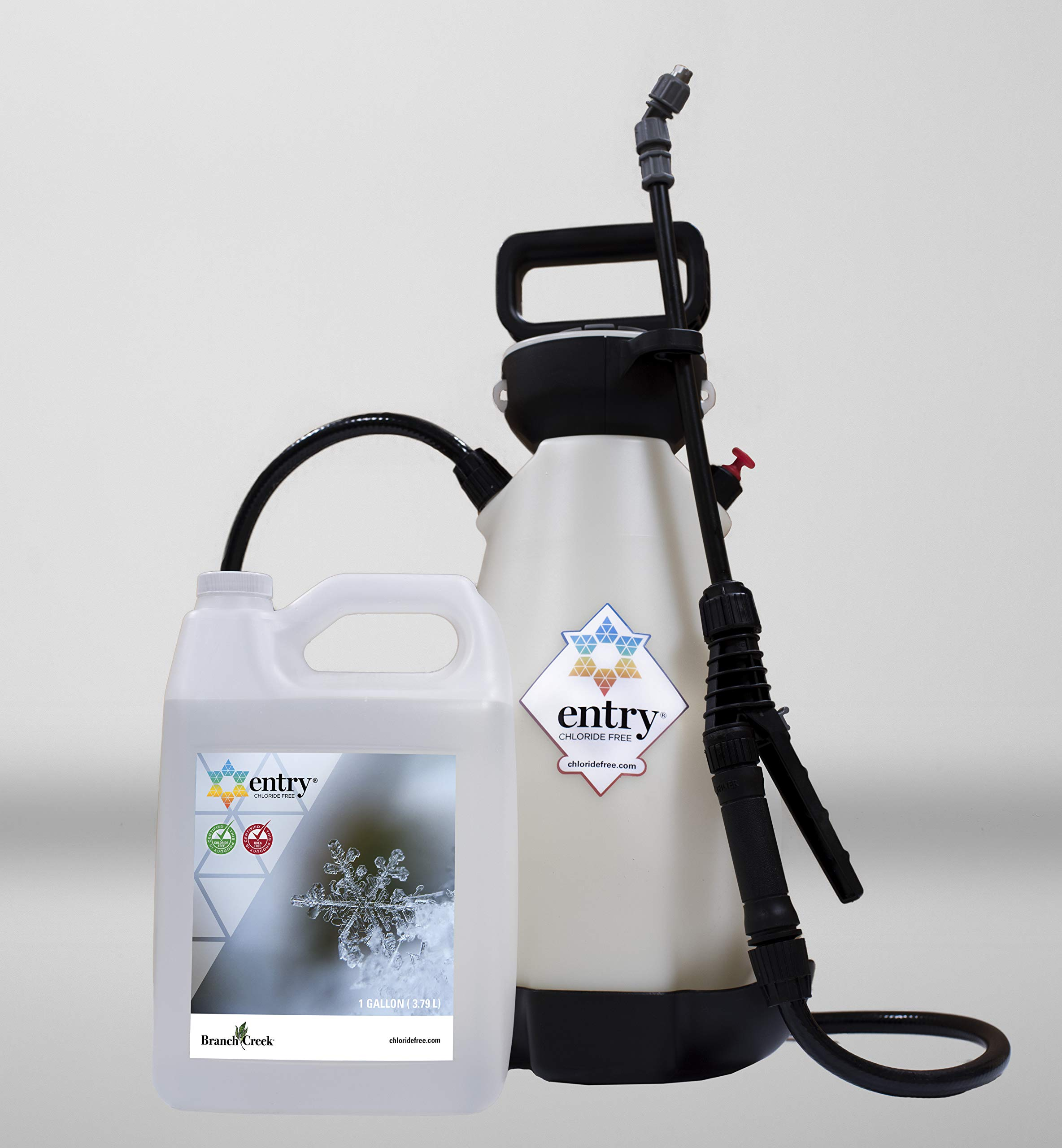 Branch Creek Entry Chloride-Free, Non-Toxic Liquid Ice Melt and Manual Pump Sprayer Bundle-Quick, Clean and Optimal Application-for Entrances of Commercial and Larger Residential Properties (1 Gallon)